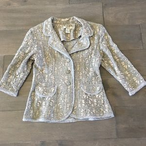 Nick & Mo  Anthropologie Lace Over Gray Blazer